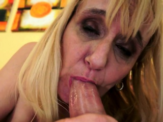 European grandma fucked anally after toying