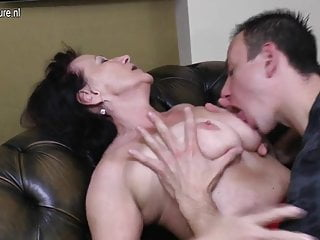Old granny fucked by her young boy