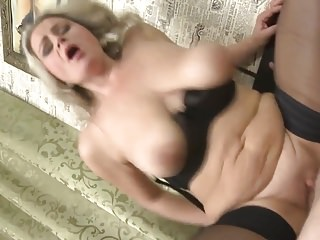 Mom with big saggy tits gets taboo sex