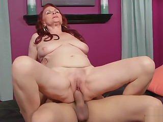 Redhead granny Katherine fucks young cock in her soft pussy 2