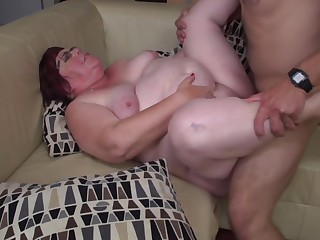 Big granny blows and fucks young guy