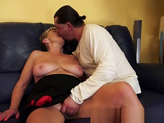 Saggy granny spoon fucked and jizzed on pussy