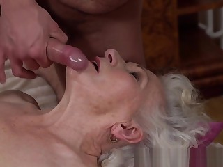 Busty old lady facialized