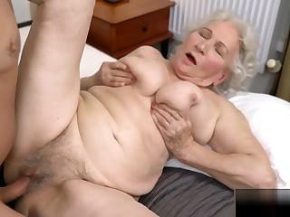 Horny granny Normas bushy twat got Robs big load