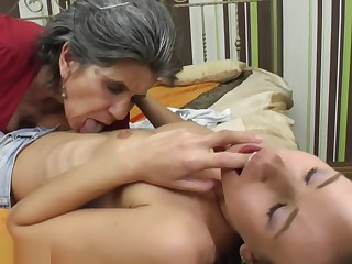 Clothed granny licking naked young girl (part 2)