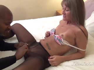 Nasty mature female in stockings got fucked hard, by a horny, black man who loves her