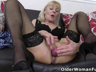 Skinny gilf Elaine soaks her knickers and sits on a dildo