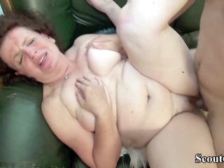 Chubby Russian Mature Is Riding A Rock Hard Dick And Licking Balls, In The Living Room